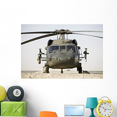 (Front Uh-60l Black Hawk Wall Mural by Wallmonkeys Peel and Stick Graphic (48 in W x 32 in H) WM51767)