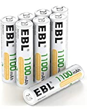 EBL AAA Batteries 1100mAh NiMH Rechargeable Batteries, Pack of 8