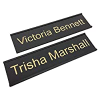 Personalized Name Plate With Wall or Office Desk Holder - black/gold