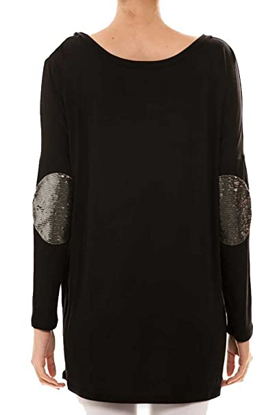 80939d6f739 Shopglamla Sequin Elbow Patch Oversize Long Sleeves Tunic Top Small Black