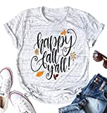 Happy Fall Y'all T Shirt for Women Maple Leaf Print Short Sleeve Loose Tee Tops Size L (Light Gray)