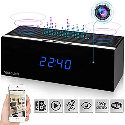 Clock Spy Camera - Wireless Home Hidden Cam - Security Nanny Cam with HD 1080p - Night Vision - Speaker - Motion Detection - WiFi - 140° View Angle - 3000 mA Battery - 8 IR Led Lights by NeoLavish