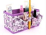 Tuscom Non-Woven Flower Multifunctional Portable Cosmetic Storage Box,19 x 10 x10cm Digital Fashion Jewelry Box (Purple)