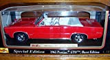 Maisto RED 1965 Pontiac GTO (Hurst Edition) CONVERTIBLE Muscle Car with REDLINE Wheels in 1:18 Scale Diecast Metal