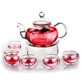 Siyaglass Heat Resistant Glass Filter Teapot with a Warm and 6 Tea Cups 800ml/27oz