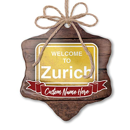 NEONBLOND Custom Family Ornament Yellow Road Sign Welcome to Zurich Personalized Name