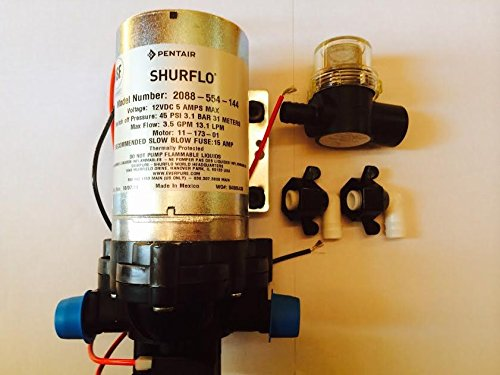 Shurflo Fresh Water Pump with Shurflo Strainer & Shurflo Swivel Fittings 12 volts, 3.5 GPM, 45 PSI