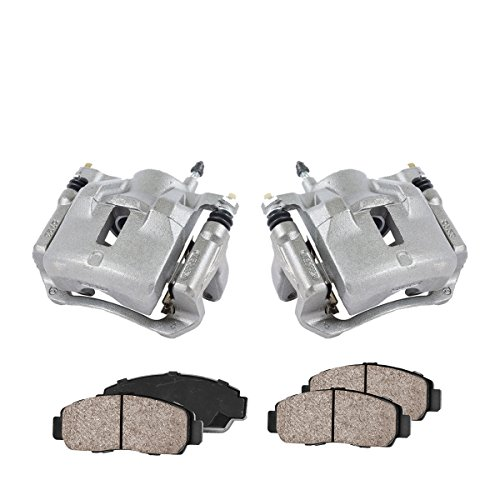 COEK01475 [2] FRONT Premium Loaded OE Caliper Assembly Set + Quiet Low Dust Ceramic Brake -