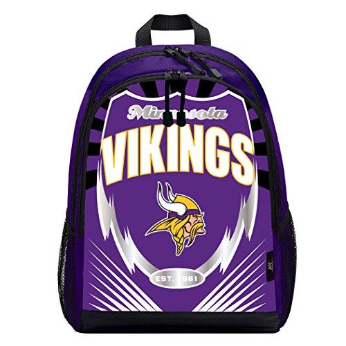 Officially Licensed NFL Minnesota Vikings Lightning Kids Sports Backpack, Purple