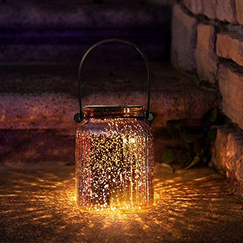SUNWIND Solar Mercury Glass Jar Lights - 2 Pack Bronze Table Lamps Hanging Indoor Outdoor Lights for Patio Garden Lawn Wall Décor
