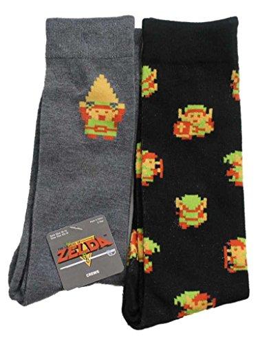 The Legend of Zelda Retro 8 Bit Link Men Juniors 2pk Crew Socks]()