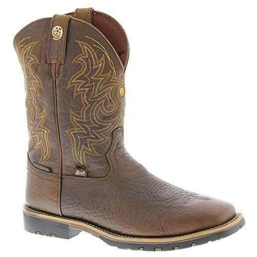 [Justin Men's Dark George Strait Waterproof Cowboy Boot Square Toe Bark 10 D(M) US] (Brown Waterproof Boot)