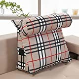 WENRAN Sofa 100% Cotton Reading Pillow, Triangular Wedge Upholstered Backrest Positioning Support Pillow Bedside Tatami Removable Cover Reading backrest Cushion-A 45x45x20cm(18x18x8inch)