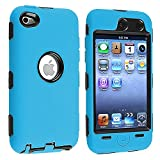 Hybrid Case compatible with Apple iPod touch 4th Generation, Black Hard / Sky Blue Skin Larger Image
