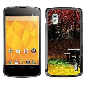Be Good Phone Accessory // Dura Cáscara cubierta Protectora Caso Carcasa Funda de Protección para LG Google Nexus 4 E960 // Autumn Yellow Nature Trees Fall