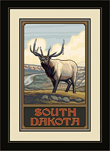 Northwest Art Mall South Dakota Whistling Elk Plains Framed Wall Art by Paul A. Lanquist, 13 by - Mall South Plains