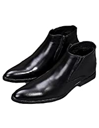 US Size 5-12 New Comfort Black Leather Mens Dress Formal Zip Ankle Boots Shoes