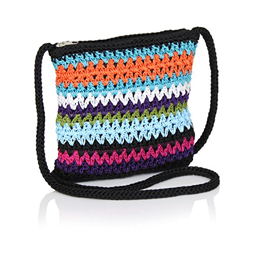 Boho Crochet Crossbody Handbag, Striped Sling Bag, Small Crocheted Hippie Purse (Multi Colored Black)