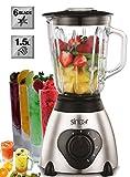 Glas Standmixer 600 Watt 1,5 Liter Smoothie Maker Ice Crusher Universal Mixer 6-fach Metallmesser