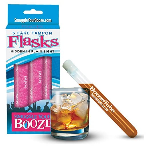 Sneak Alcohol with 5 Tampon Flasks and Sleeves - Bonus 2 Pack! (Redesigned 2016 Version)