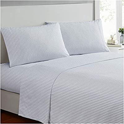 Ideal Linens Bed Sheet Set - 1800 Double Brushed Microfiber Bedding - 4 Piece (Queen, Pin Stripe Gray) - EXPERIENCE Comfort and Tranquility. Most comfortable and luxurious bed sheets you can find. Perfect for bedroom, guest room, kids room, RV, vacation home and dorm. Great gift idea for men, women, Moms, Dads, Valentine's - Mother's - Father's Day and Christmas. QUALITY DOUBLE BRUSHED MICROFIBER - Stronger and Longer Lasting than Cotton. Super Silky Soft with great color selection to match any bedroom style EASY CARE - Machine wash in cold. Dries quick on tumble dry low. - sheet-sets, bedroom-sheets-comforters, bedroom - 51uTKPTrn2L. SS400  -