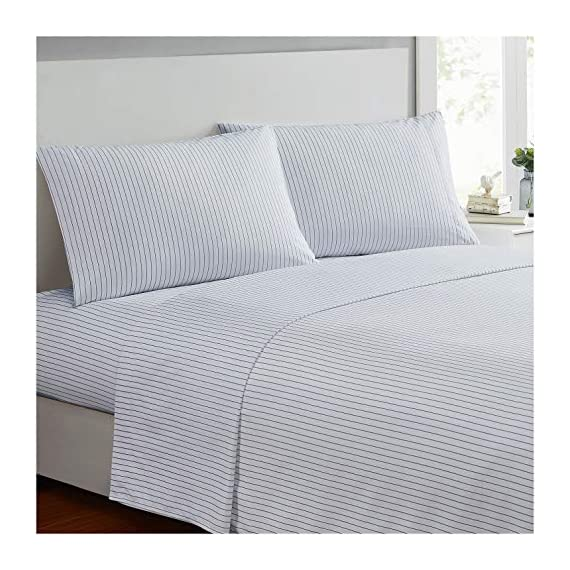 Ideal Linens Bed Sheet Set - 1800 Double Brushed Microfiber Bedding - 4 Piece (Queen, Pin Stripe Gray) - EXPERIENCE Comfort and Tranquility. Most comfortable and luxurious bed sheets you can find. Perfect for bedroom, guest room, kids room, RV, vacation home and dorm. Great gift idea for men, women, Moms, Dads, Valentine's - Mother's - Father's Day and Christmas. QUALITY DOUBLE BRUSHED MICROFIBER - Stronger and Longer Lasting than Cotton. Super Silky Soft with great color selection to match any bedroom style EASY CARE - Machine wash in cold. Dries quick on tumble dry low. - sheet-sets, bedroom-sheets-comforters, bedroom - 51uTKPTrn2L. SS570  -