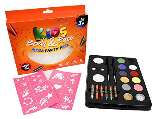 PaintFun 24 Piece Face Paint, Body Paint & Glitter Party Pack. (Paints 60+ Faces!) 100% Child Safe (FDA Approved) (Aqua Colors Face Paint compare prices)