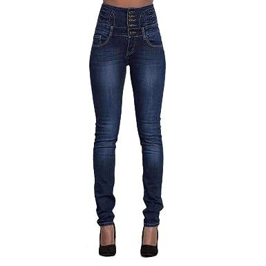Jeans da Donna Moda Monopetto A Vita Alta Skinny Unique