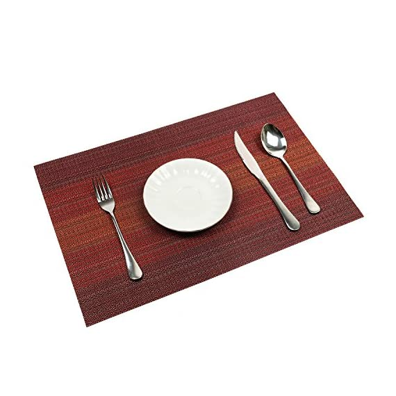 Pauwer Placemats Set of 6 Heat Insulation Stain Resistant Placemat for Dining Table Durable Crossweave Woven Vinyl Kitchen Table Mats Placemat (Red,Set of 6) - NEW DESIGN:Top-grade exquisite design placemats feel good would be the best decoration and Protection to your tables if yo have children. EASY CARE:Washable table placemat,non-fading,non-stain,Not mildew,Wipe Clean,and dries very quickly HIGH QUALITY:FDA Approved and environmentally PVC materials used,very durable placemats,free bending,free cutting,pull force non-deformation. - placemats, kitchen-dining-room-table-linens, kitchen-dining-room - 51uTKid1mcL. SS570  -