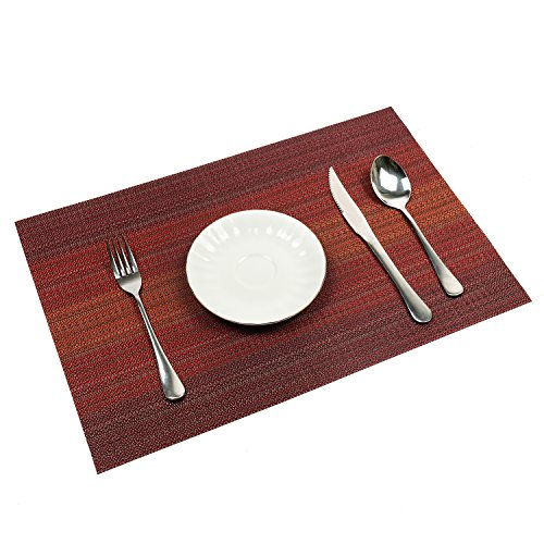 Pauwer Placemats Set of 6 for Dining Table Washable Woven Vinyl Placemat Non-Slip Heat Resistant Kitchen Table Mats Easy to Clean (Set of 6, Red)