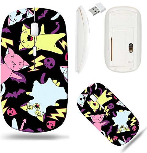 Liili Wireless Mouse White Base Travel 2.4G Wireless Mice with USB Receiver, Click with 1000 DPI for notebook, pc, laptop, computer, mac book IMAGE ID: 15471261 Vector kawaii pattern of Halloween cats