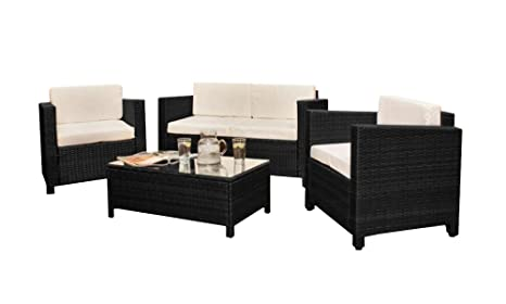Comfy Living ratán 4 asiento de jardín (mimbre muebles de ...