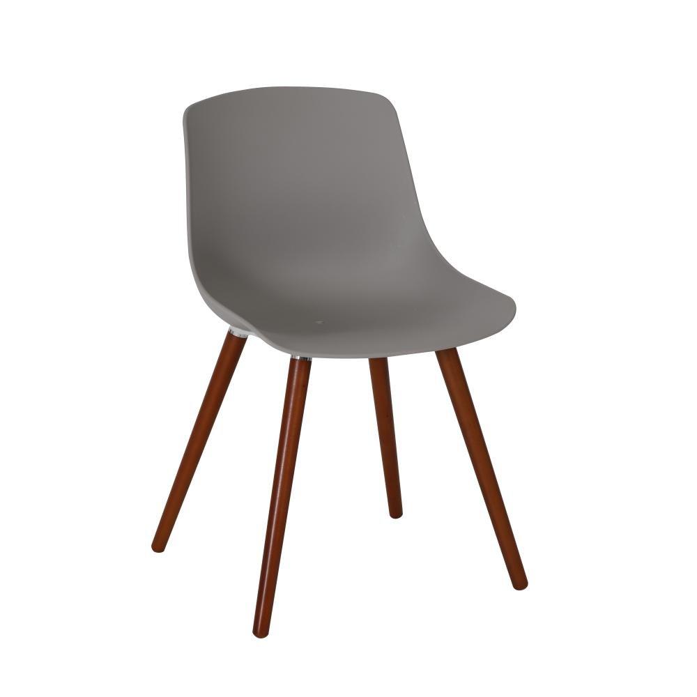 1 Stück Greemotion Stuhl Halifax mit Holzbeinen, Designerstuhl mit Kunststoffschale, 52 x 81 x 58 cm, für Garten und Haus, max. 110 kg, in grau
