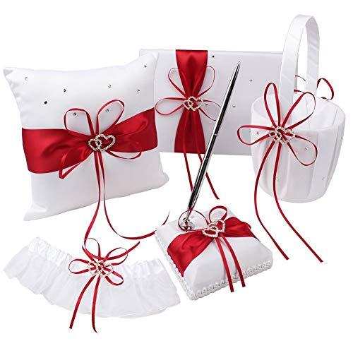 (KANECH 5pcs Sets-Red Satin- Wedding Flower Girl Basket and Ring Bearer Pillow Set (Ring Pillow + Flower Girl Basket + Wedding Guest Book +Pen Set + Garter Cover))