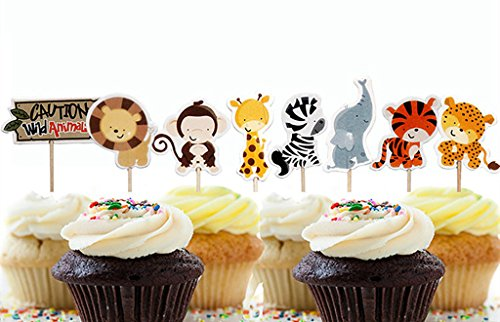 Yunko 24 Pcs Cute Decorative Cupcake Muffin Toppers Wild Animals Zoo Zebra Lion Tiger Elephant Giraffe Baby Shower Birthday Party Favors (Birthday Cake Favor)