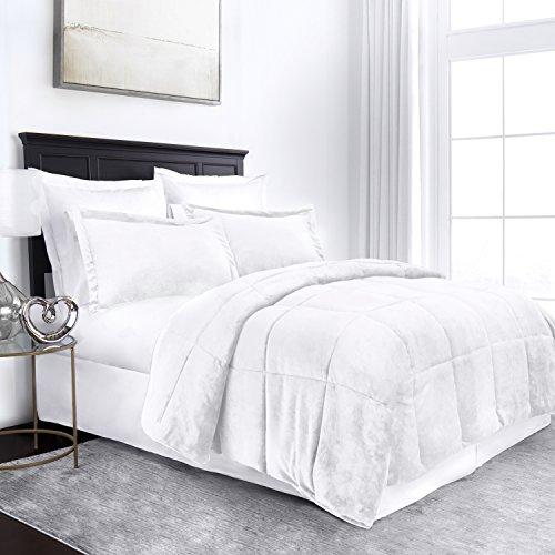 Sleep Restoration Micromink Goose Down Alternative Comforter Set – All Season Hotel Quality Luxury Hypoallergenic Comforter/Blanket with Shams –King/Cal King – Pure White