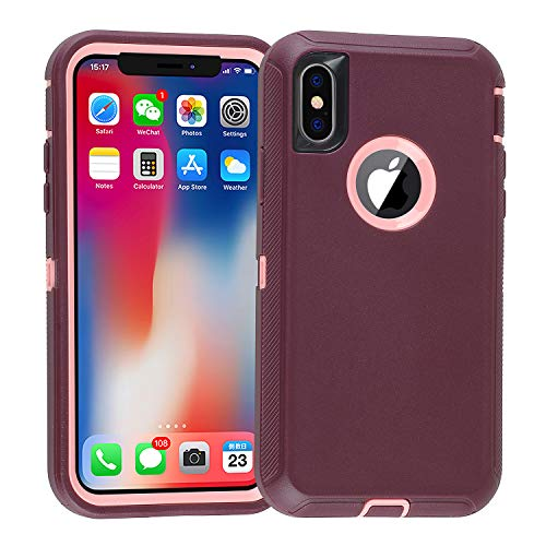 smartelf Compatible with iPhone X/Xs/10 Case Heavy Duty Shockproof Drop Proof Protective Cover Hard Shell for Apple iPhone Xs 5.8 inch-Purple/Pink
