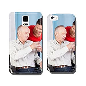 Nurse giving disabled man glass of water cell phone cover case Samsung S5