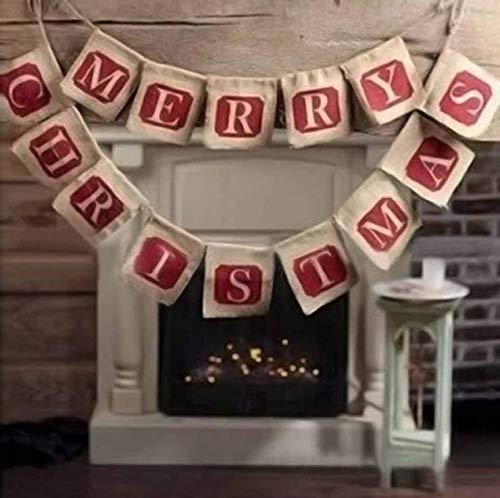 NUOLUX Merry Christmas Jute Burlap Banners,Christmas Banner,Christmas Decoration (Christmas Decorations)