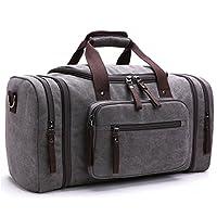 Toupons 20.8'' Large Canvas Travel Tote Luggage Men's Weekender Duffle Bag (G...
