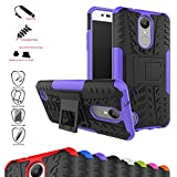 Mama Mouth Shockproof Heavy Duty Combo Hybrid Rugged Dual Layer Grip Cover with Kickstand For LG K8 2017 /LG K4 2017 /LG X300 /LG M200N /MS210 /LV3 (5.0') Smartphone,Purple