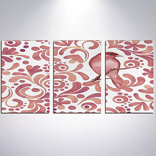 3 Panel Canvas Prints Wall Art for Home Decoration Watercolor Print On Canvas Giclee Artwork For Wall DecorCute Bird on Tree Branch Floral Swirls Curves Little Dots Wildlife-Coral Dri