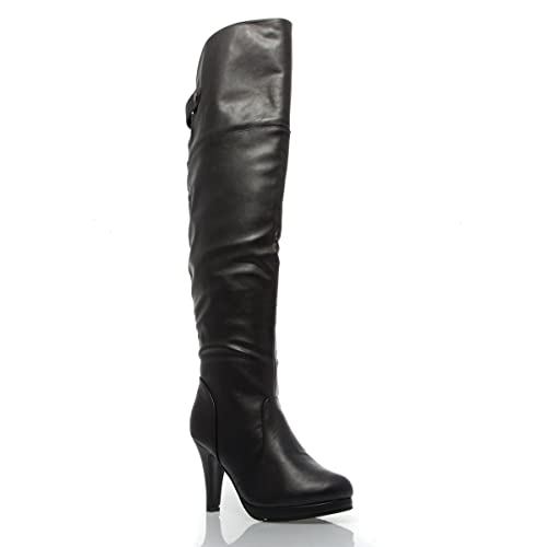 79dd73619ce V-Luxury Womens 33-PAGE5 Closed Toe Over The Knee High Heel Boot Shoes