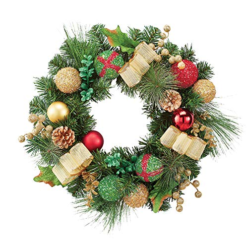 (Collections Etc Sparkle Ornament Christmas Wreath with Gold Bows, Pinecones and Berries)