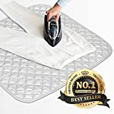 Eutuxia Ironing Mat, Blanket. Alternative to Iron Board. Quilted, Breathable, Washer and Dryer Safe Heat Resistant Pad with Magnetic Corners. Use on Any Flat Metallic Surface [23' x 20.5']