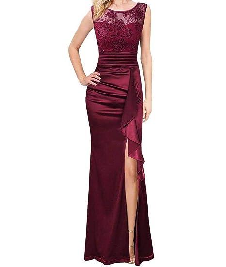 O&YQ Falda Larga Transparente Atractiva del Vestido de Fiesta del ...