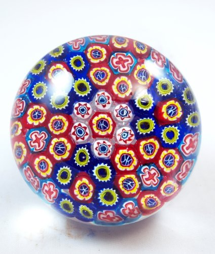 (M Design Art Blown Glass Rainbow Millefiori Paperweight PP-0199)