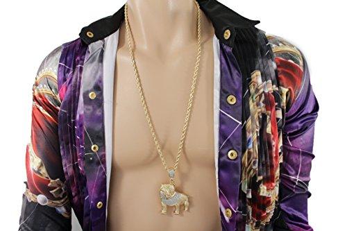 [TFJ Men Fashion Long Necklace Gold Metal Chains Dog Charm Bulldog Pendant Hip Hop Jewelry] (Asian Guy Halloween Costume)