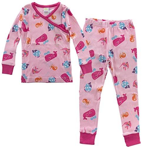 PLove Kids Two Piece Organic Cotton Pajamas Little Girls Toddler PJs Pants Shirt Aquarium 5Y   chest  22.5 inches  bottom length  25.25 - 2 Fish Set Piece