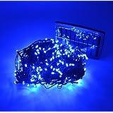 Samyo 100ft 300 LED 2 Light Modes Waterproof Solar Fairy Lights String for Outdoor Gardens Homes Christmas Lighting Party (Blue)